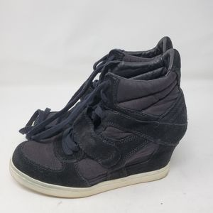Ash 40 Black Wedge Cool Sneaker Lace Up Strap